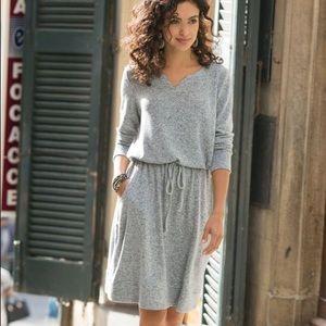 Soft Surroundings Gray Drawstring Waist Dress, Med